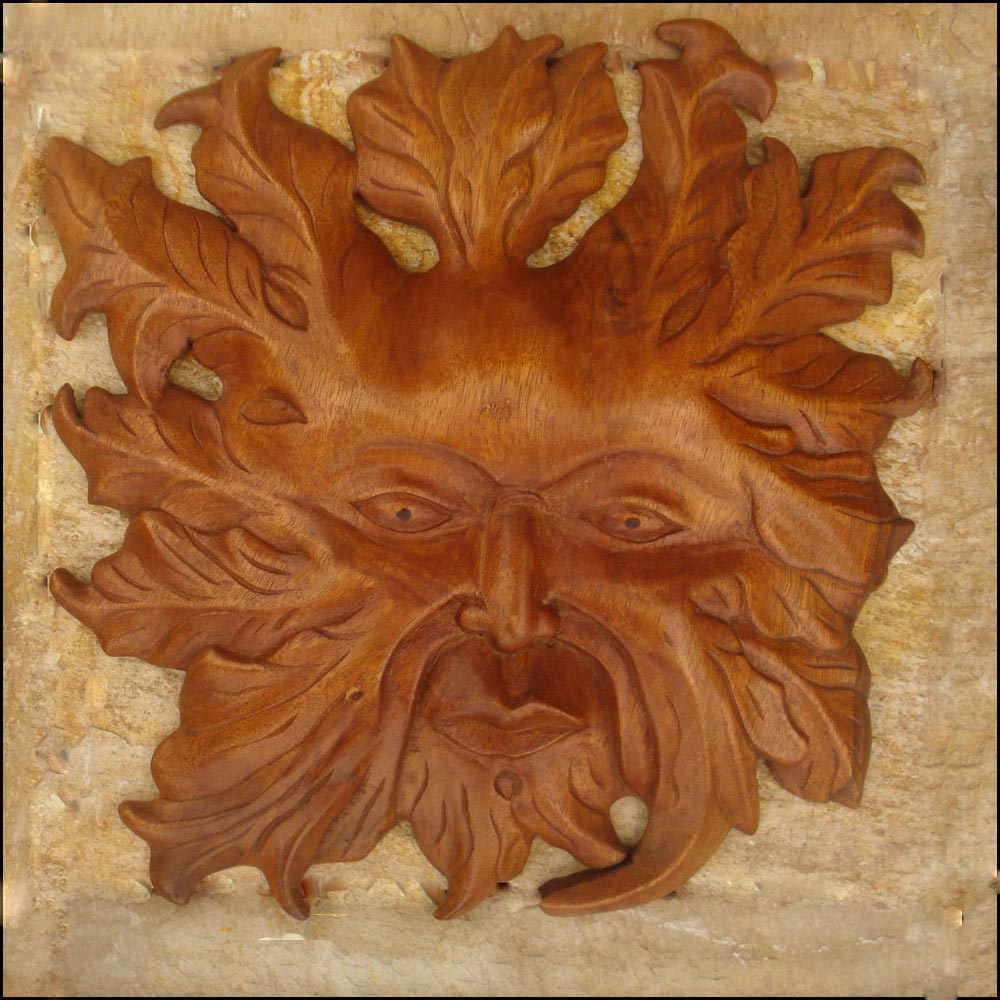 Gm green man celtic viking and lamp woodcraft carvings