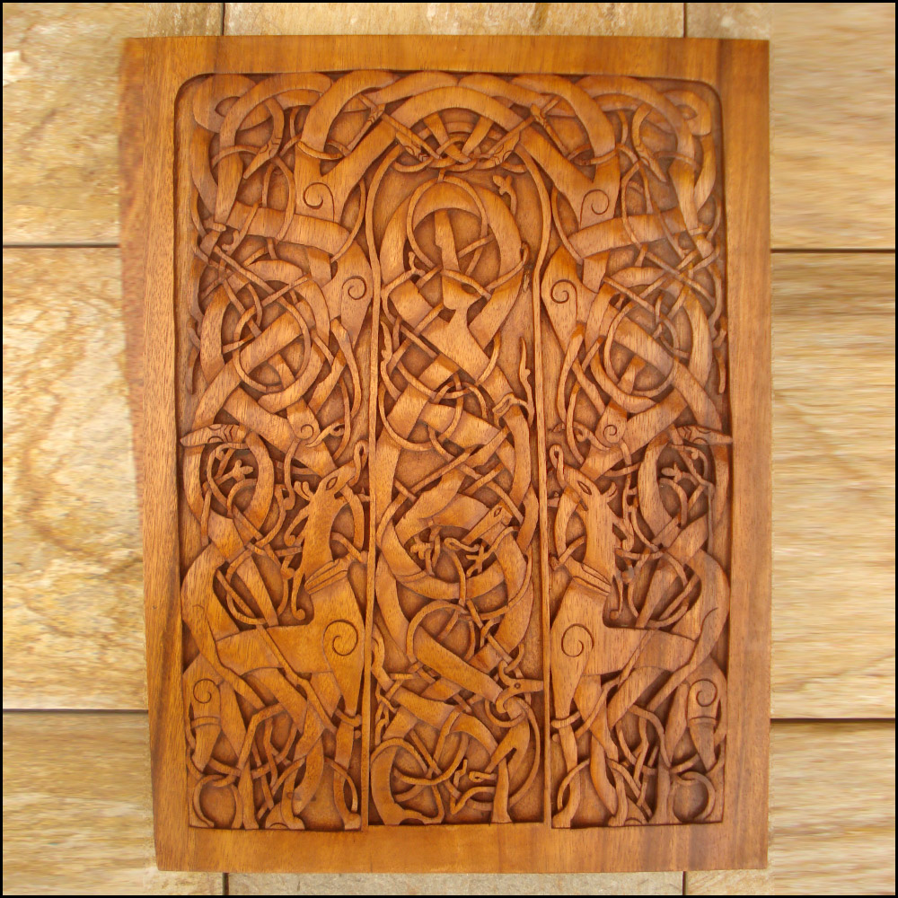 Vm urnes church door panel celtic viking and lamp